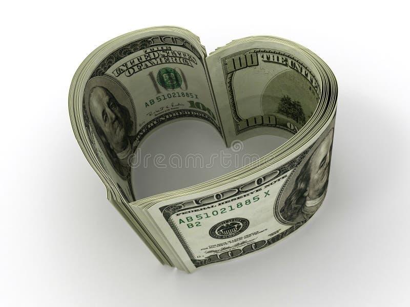 Geld. Hart vector illustratie