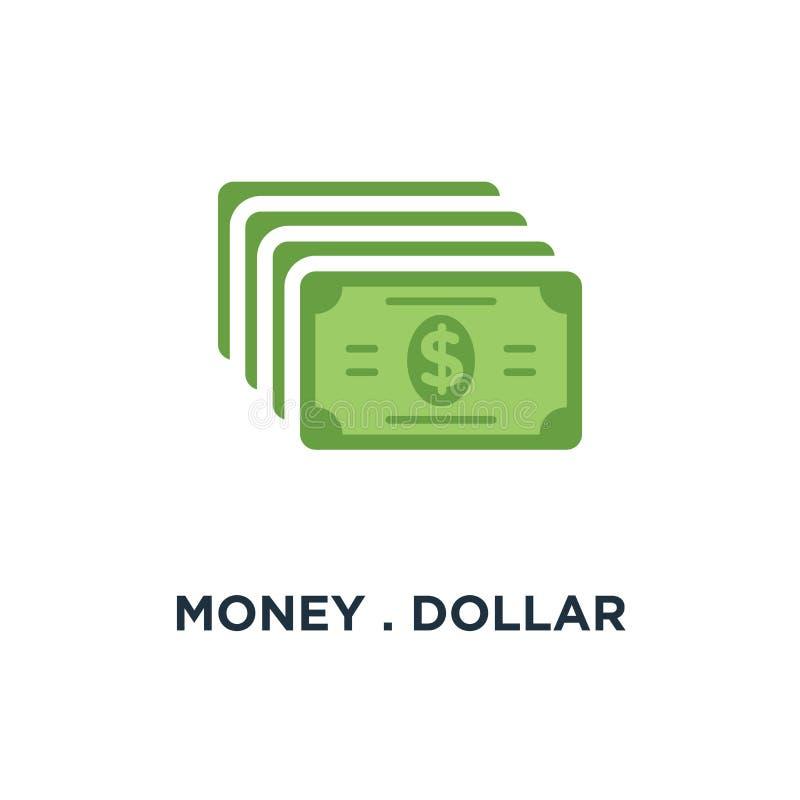 Geld het contante geldpictogram van het dollargeld het tekenconcept van de dollarmunt sym stock illustratie