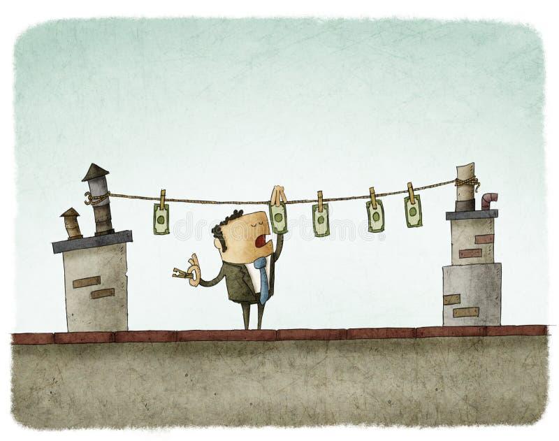 Geld het drogen op het dak royalty-vrije illustratie