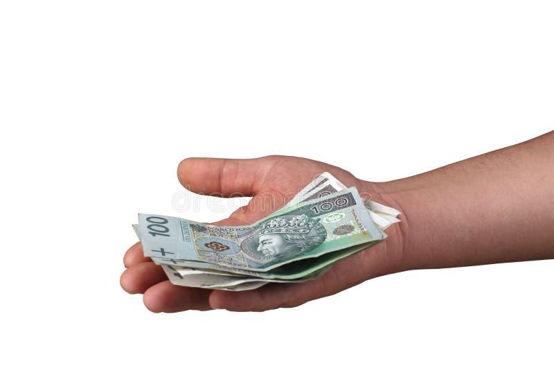 Geld in Ihrer Hand stockfotografie