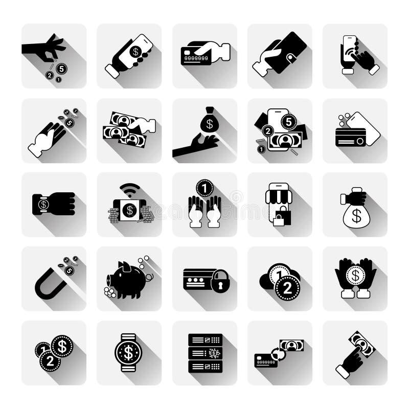 Geld-Ikonen eingestellte bewegliche Bankwesen-kontaktlose Zahlung Einkaufsapps-Konzept-Kreditkarte-moderne Technologie-Sammlung lizenzfreie abbildung
