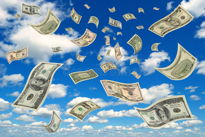 Geld im Himmel. stockfotos