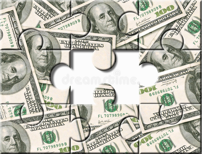 Geld-Investitionspuzzlespiel stockbild