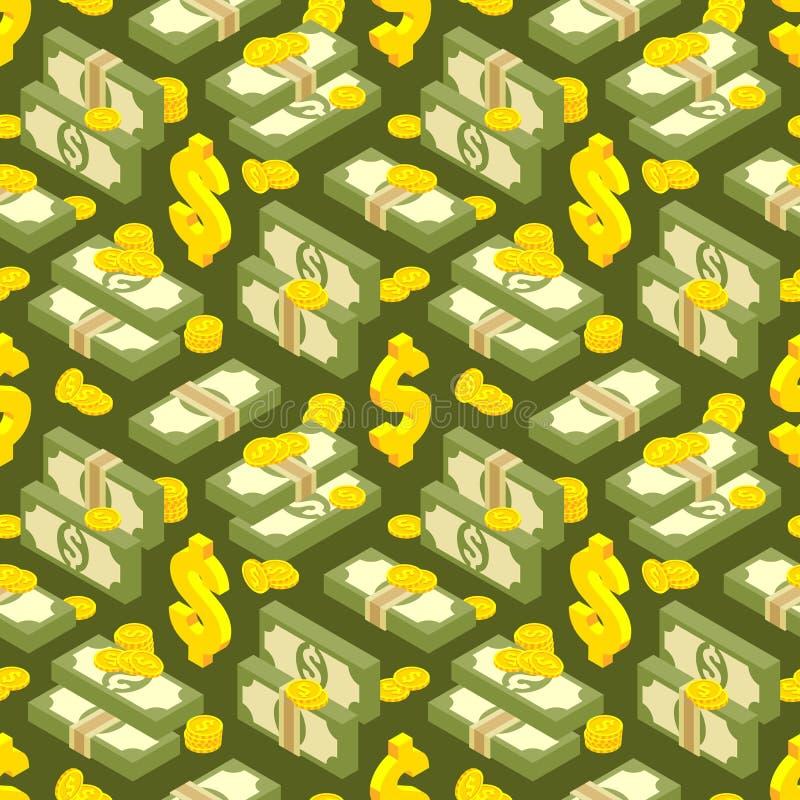 Geld isometrisch naadloos patroon royalty-vrije illustratie