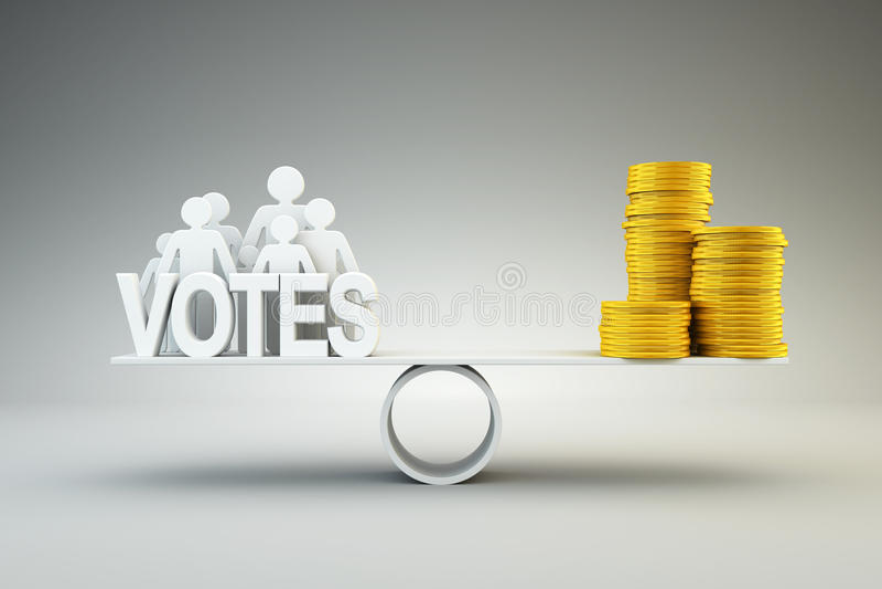 Geld kauft Stimmen stock abbildung