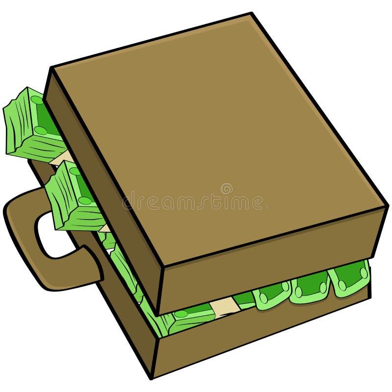 Geld in koffer vector illustratie