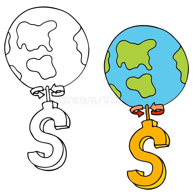 Geld lässt die Welt sich drehen stock abbildung