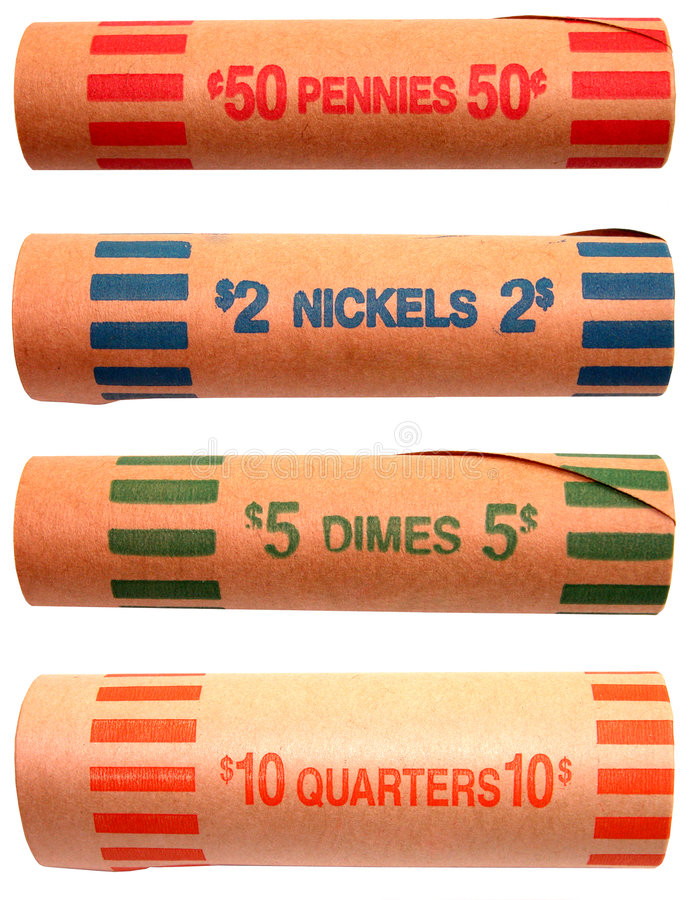 Geld: Münzen-Rollen-Verpackungen lizenzfreie stockfotos