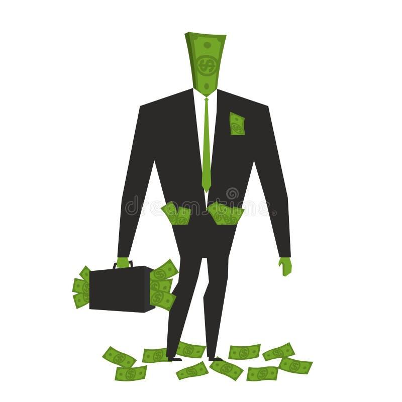 Geld Man Dollar-Monster menschliches wite Bargeld Bündel Dollar lizenzfreie abbildung