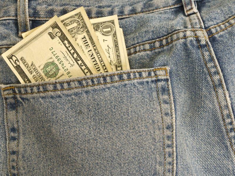 Geld in meiner Tasche - Blue Jeans stockbild