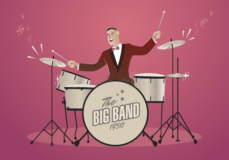 Geld-Melodie Schlagzeuger, der ein Lied spielt, das das wie Geld klingt lizenzfreie abbildung