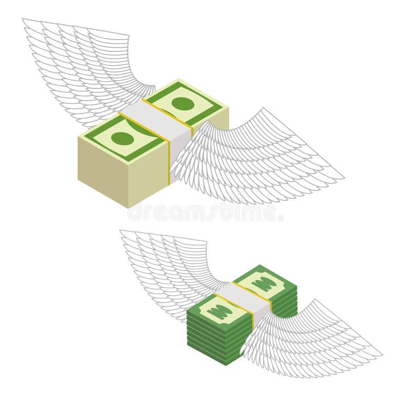 Geld met vleugels Bundels die van geld rond vliegen Vector illustr royalty-vrije illustratie