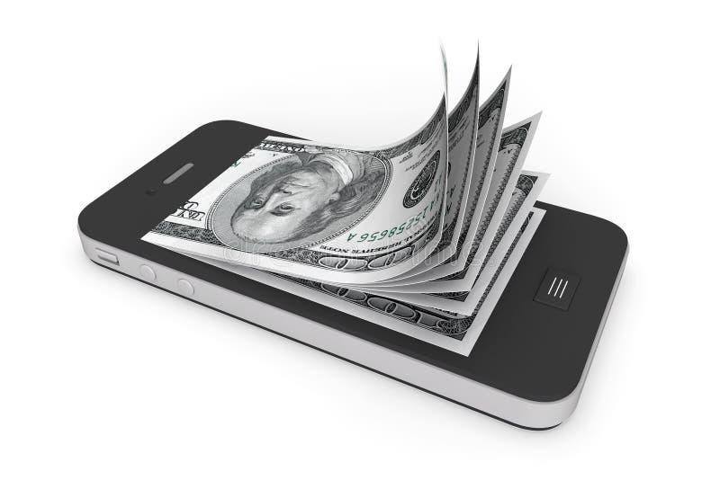 Geld in Mobiele Telefoon stock illustratie
