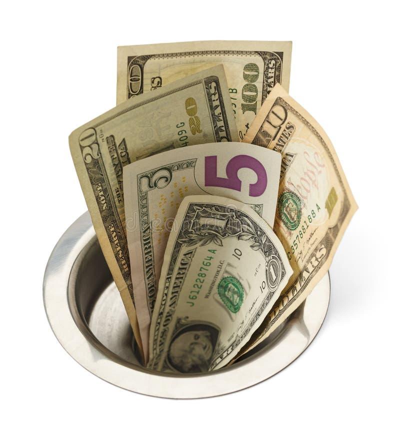 Geld onderaan Afvoerkanaal stock afbeeldingen