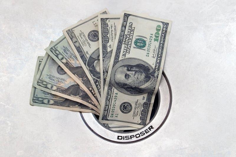 Geld onderaan het Afvoerkanaal royalty-vrije stock foto