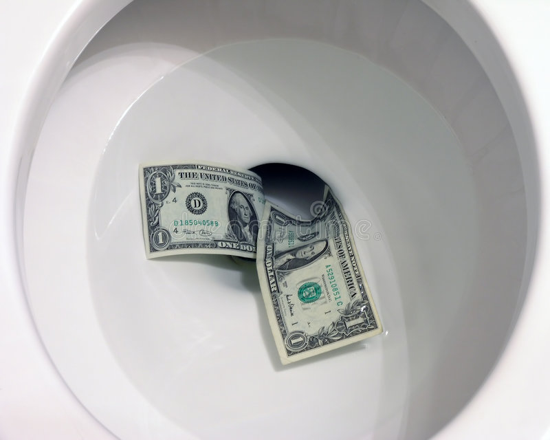 Geld Onderaan Het Toilet Stock Afbeelding