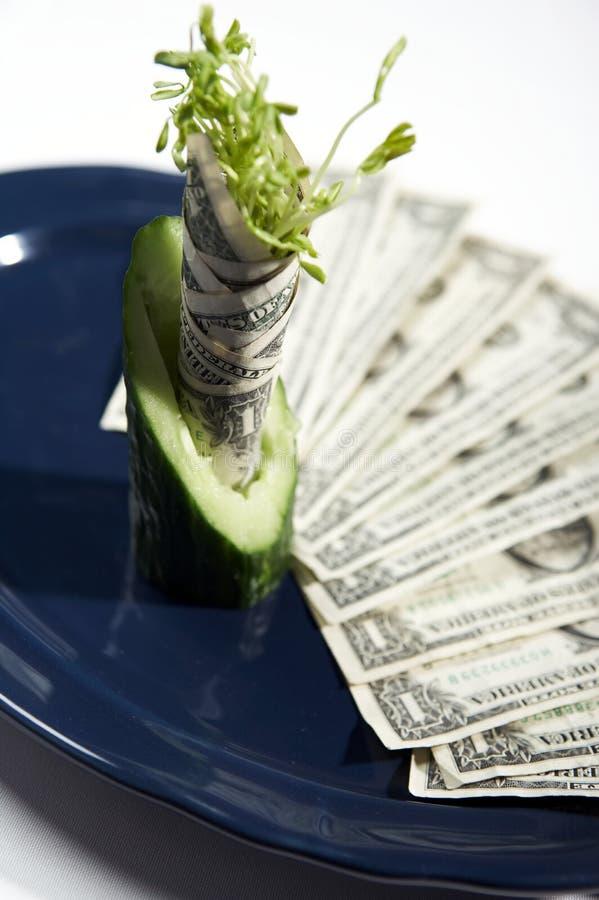 Geld ons en voedsel royalty-vrije stock afbeeldingen