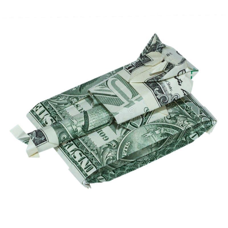 Geld-Origami BEHÄLTER gefaltet mit wirklichem Dollarschein lizenzfreie stockfotografie