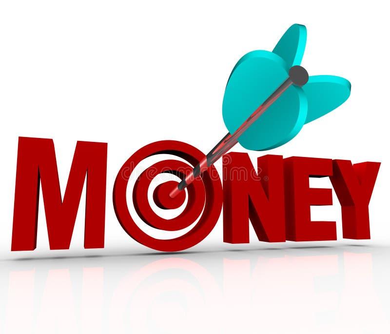 Geld-Pfeil im Ziel-Bullauge erwerben Reichtums-Reichweiten-Ziel lizenzfreie abbildung