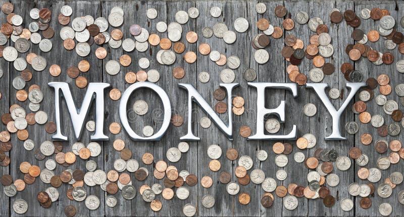 Geld prägt Hintergrund lizenzfreies stockbild