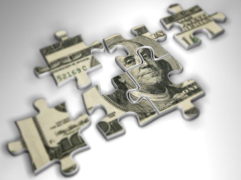Geld-Puzzlespiel stockbilder