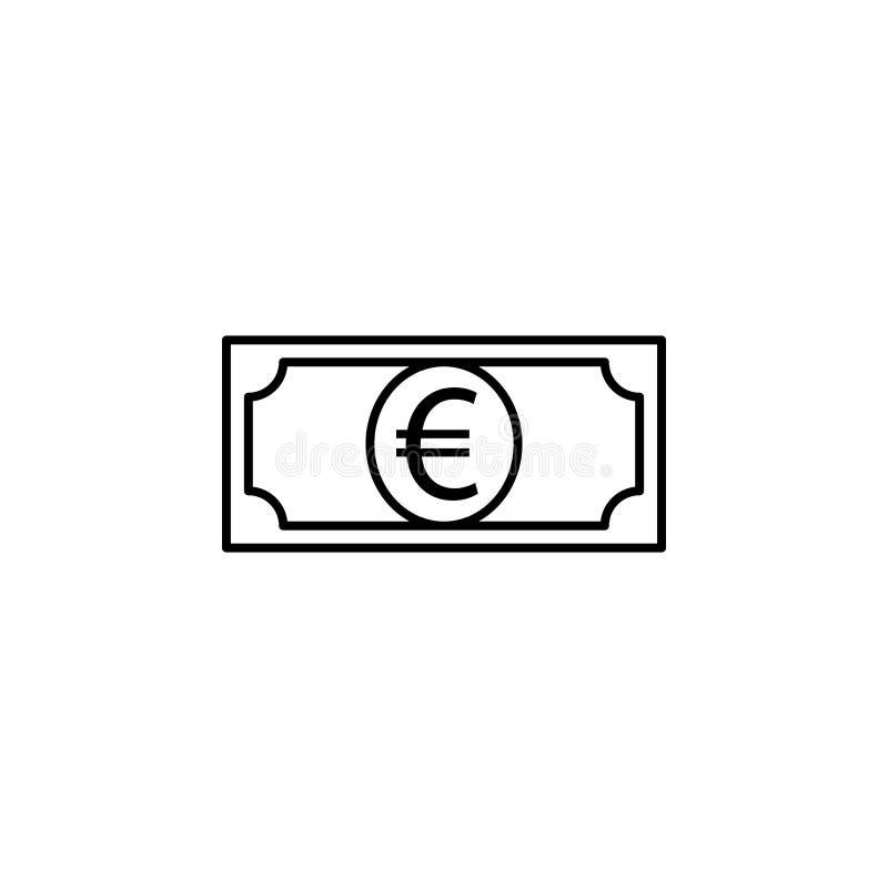 Geld, rekening, euro pictogram Element van financiënillustratie Tekens en symbolen het pictogram kan voor Web, embleem, mobiele t stock illustratie
