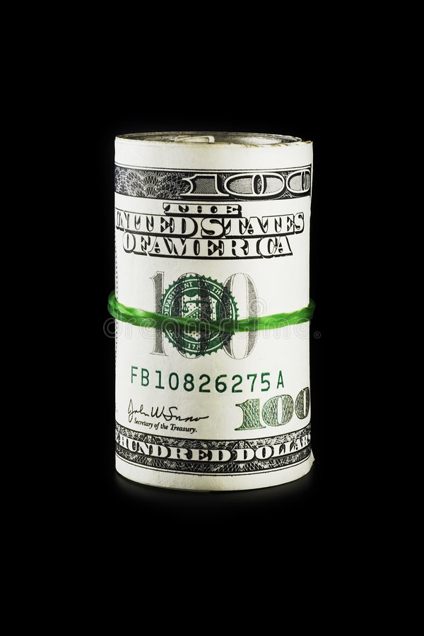Geld-Rolle (getrennt worden auf Schwarzem) lizenzfreie stockbilder