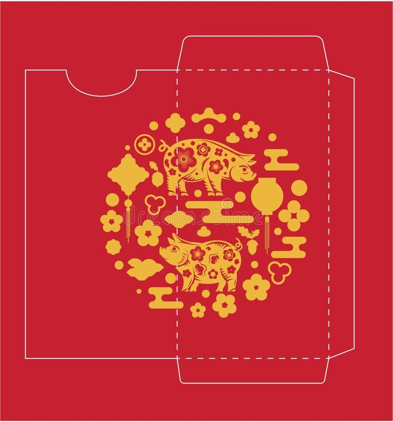 Geld-Rot-Paket des Chinesischen Neujahrsfests lizenzfreie abbildung