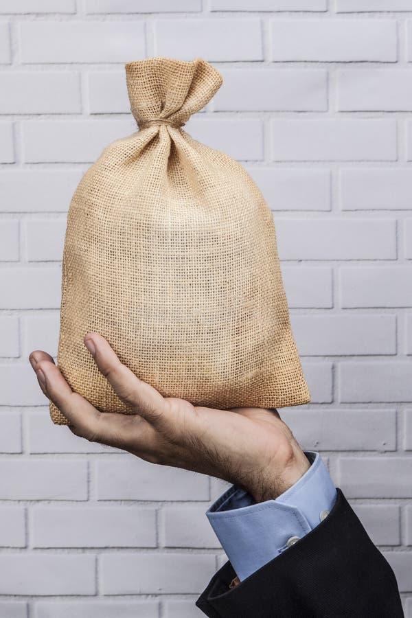 Geld-Sack in der Hand lizenzfreies stockbild