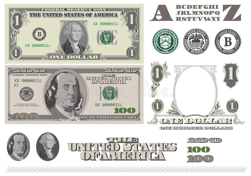 Geld! Schablone mit 1 und 100 Dollarscheinen stock abbildung