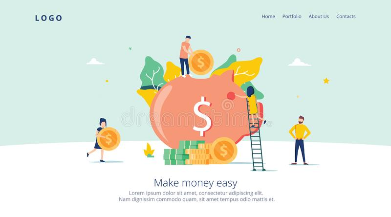 Geld-Schwein-Einsparung für Gewinn-Landungs-Seite Finanzablagerungs-Einkommen mit Münzen-Ikone Symbol der Finanzinvestition stock abbildung
