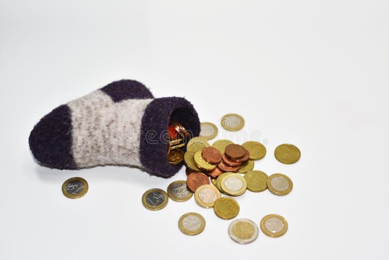 Geld in sok Abstracte samenstelling stock fotografie