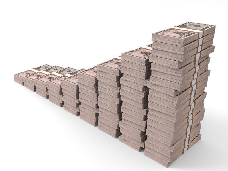 Geld stapelt Diagramm Fünfzig Dollar stock abbildung