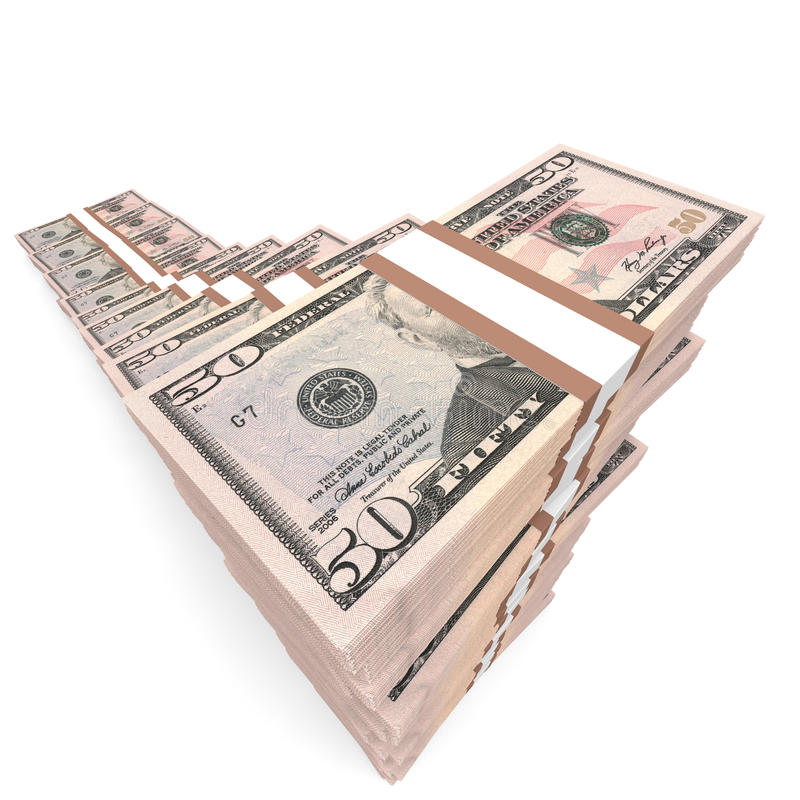 Geld stapelt Diagramm Fünfzig Dollar lizenzfreie abbildung
