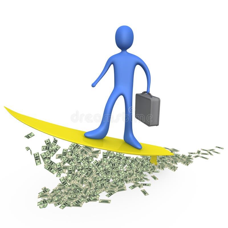 Geld-Surfen vektor abbildung