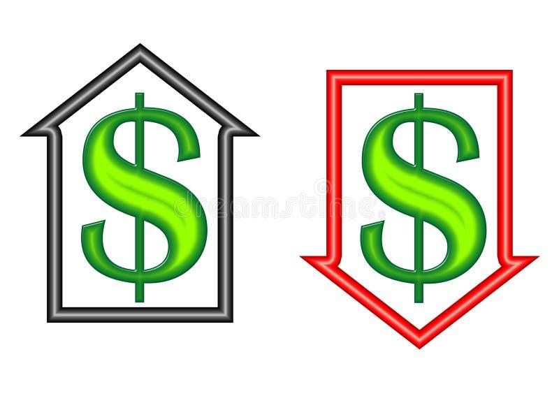 Geld-Symbole nach innen auf und ab Pfeile lizenzfreie abbildung