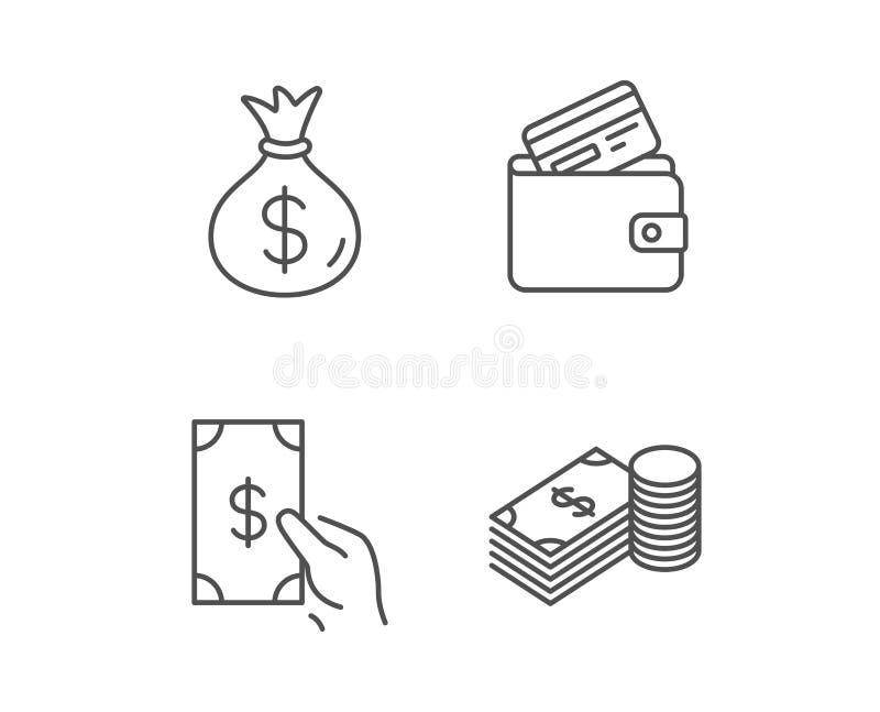 Geld-Tasche, Bargeld und Geldbörse zeichnen Ikonen vektor abbildung
