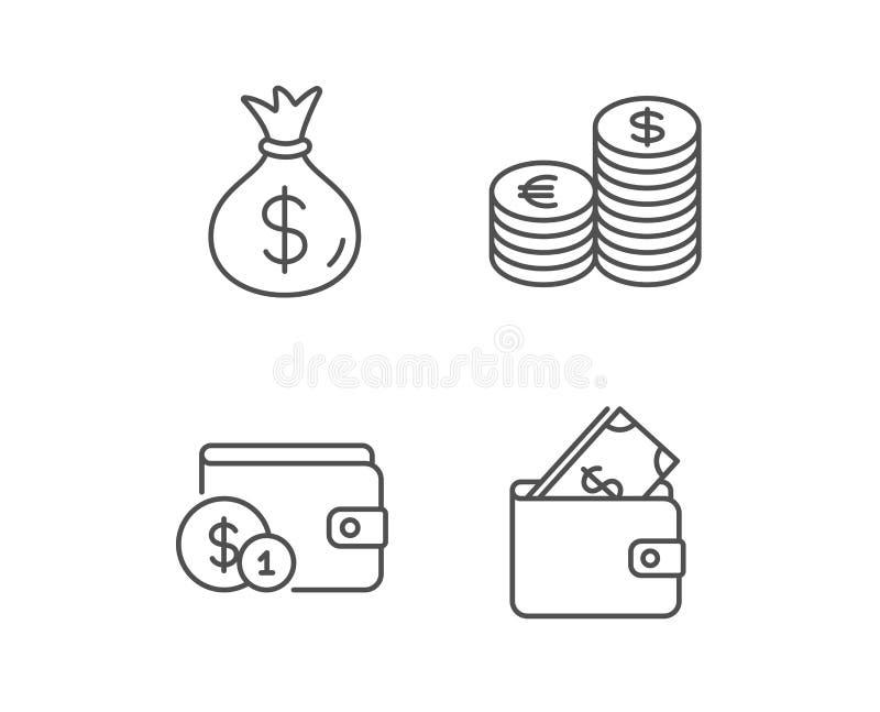 Geld-Tasche, Bargeld und Geldbörse zeichnen Ikonen lizenzfreie abbildung