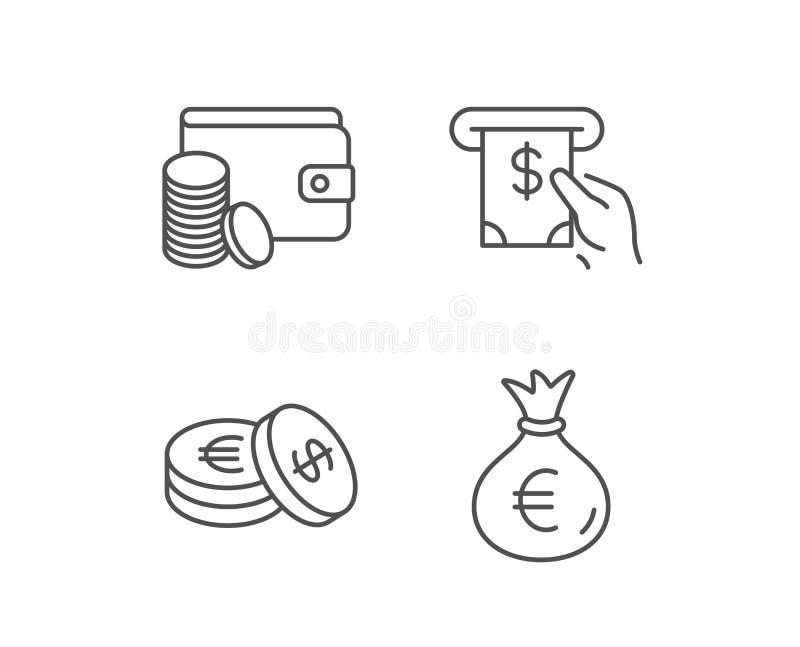 Geld-Tasche, Bargeld und Geldbörse zeichnen Ikonen münzen vektor abbildung