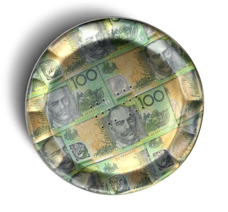 Geld-Torten-australischer Dollar lizenzfreie stockfotografie