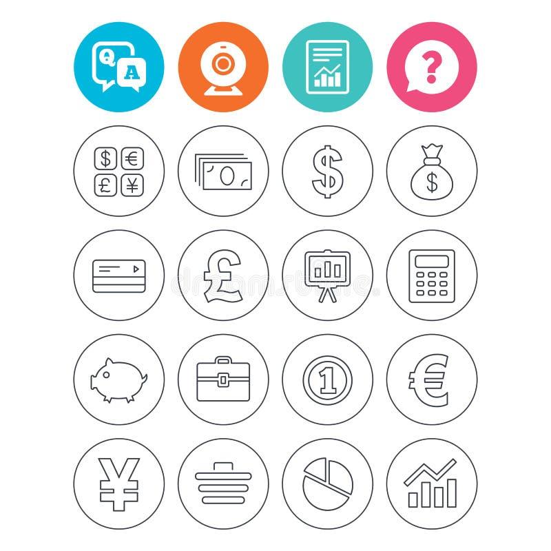 Geld und Geschäftsikone Bargeld und cashless Geld stock abbildung
