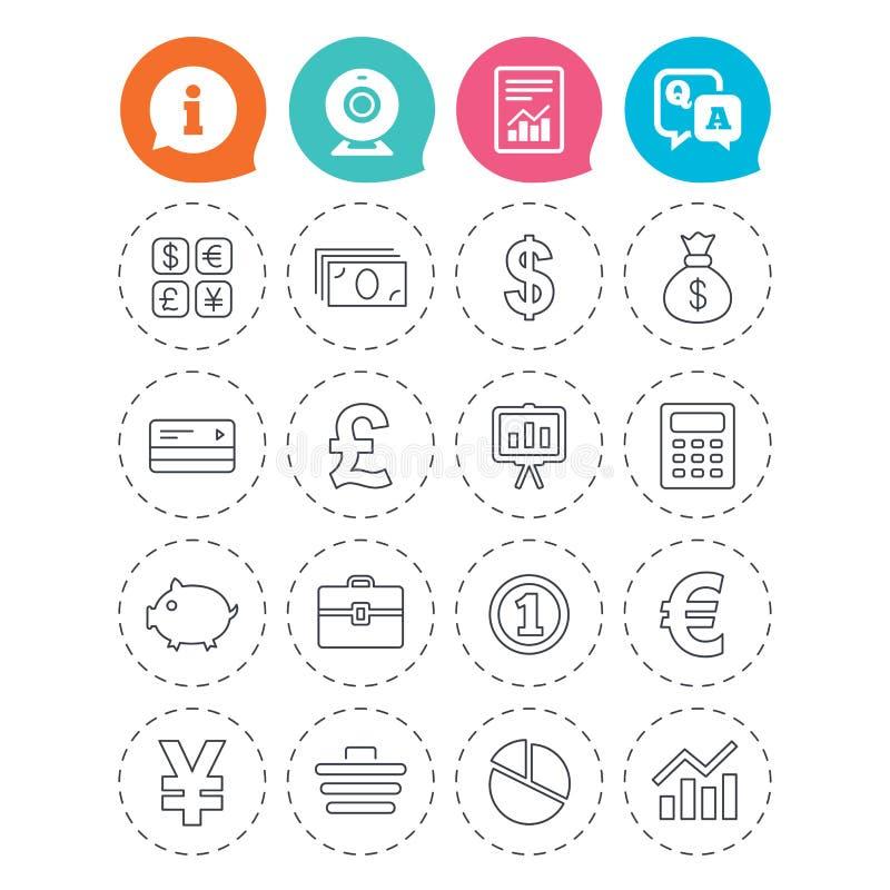 Geld und Geschäftsikone Bargeld und cashless Geld lizenzfreie abbildung