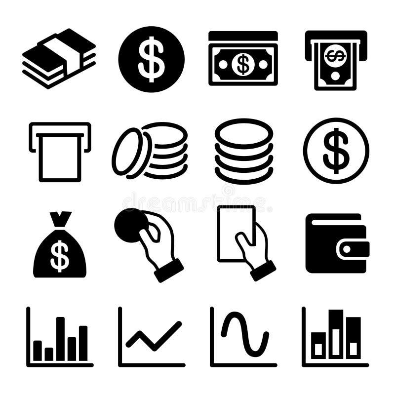 Geld und Geschäftsikonensatz vektor abbildung