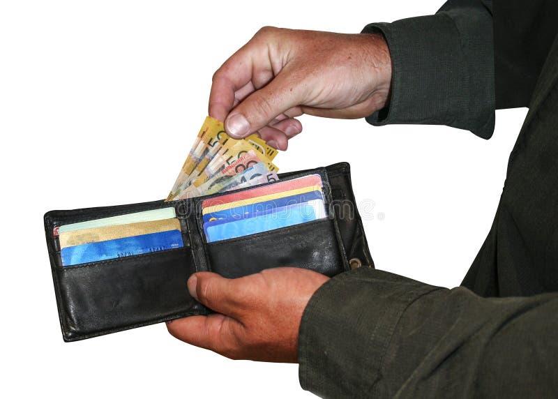 Geld und Karten in der Geldbörse stockfotos