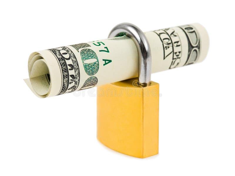 Geld und Verriegelung lizenzfreies stockfoto