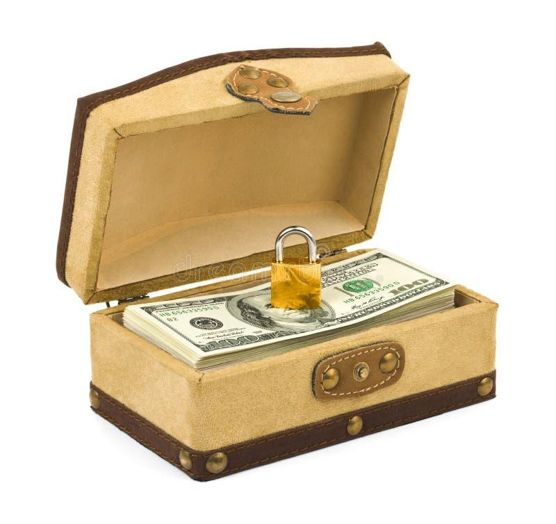Geld und Verriegelung im Kasten lizenzfreie stockfotos