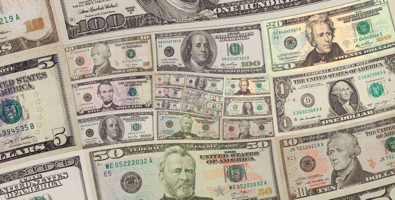 Geld US-Dollars Quadratspiralenhintergrund hundert, fünfzig Dollar Banknoten US-Dollars abstraktes Hintergrundmuster Geld-Rücksei lizenzfreie stockfotografie