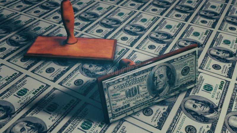 Geld - USD 3d geef terug stock illustratie