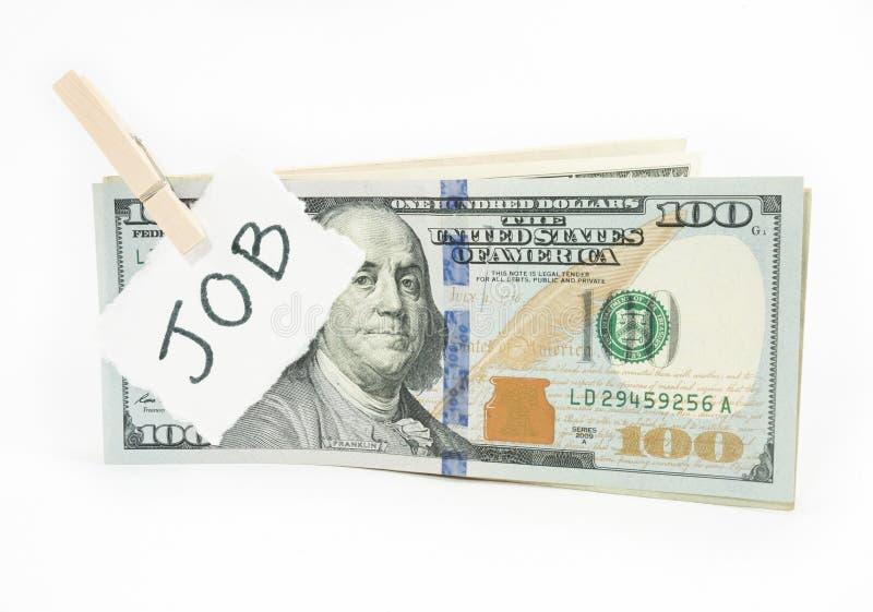 Geld van baan stock foto's