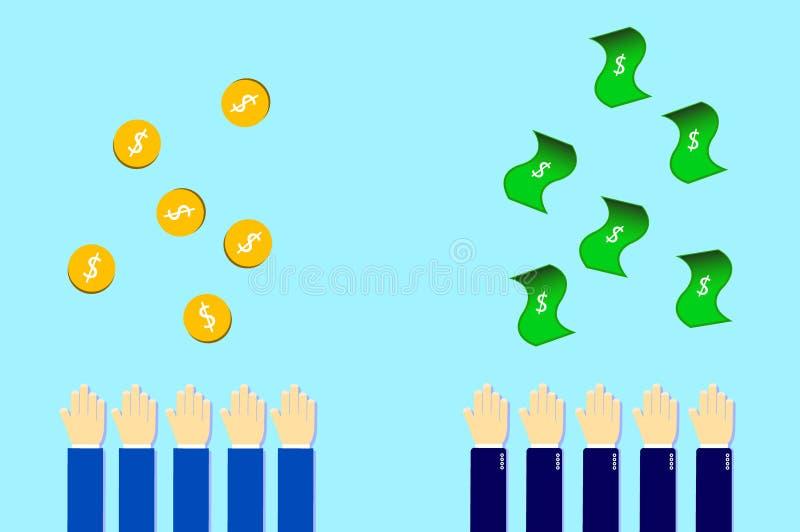 geld van hierboven door de bedrijfsmens en eenvoudige mensen stock foto